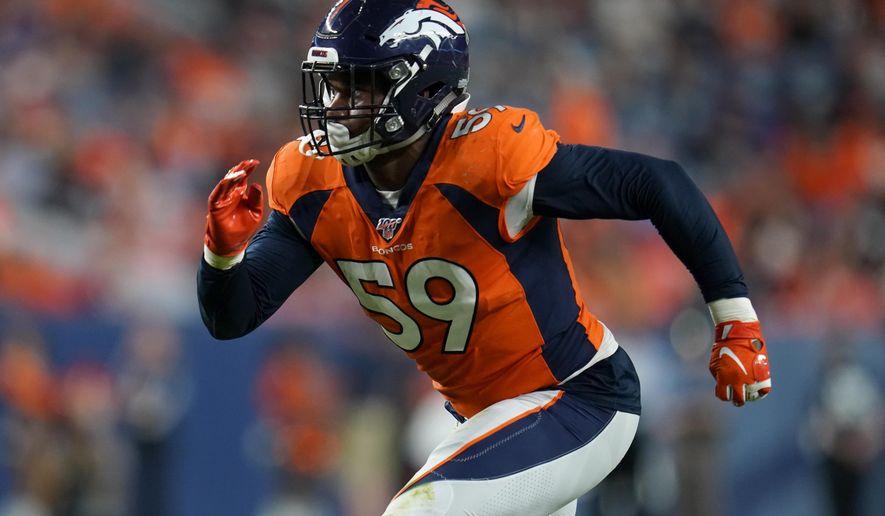 Denver Broncos linebacker Malik Reed (59) runs a play against the Arizona Cardinals during the first half of an NFL preseason football game, Thursday, Aug. 29, 2019, in Denver. (AP Photo/Jack Dempsey)