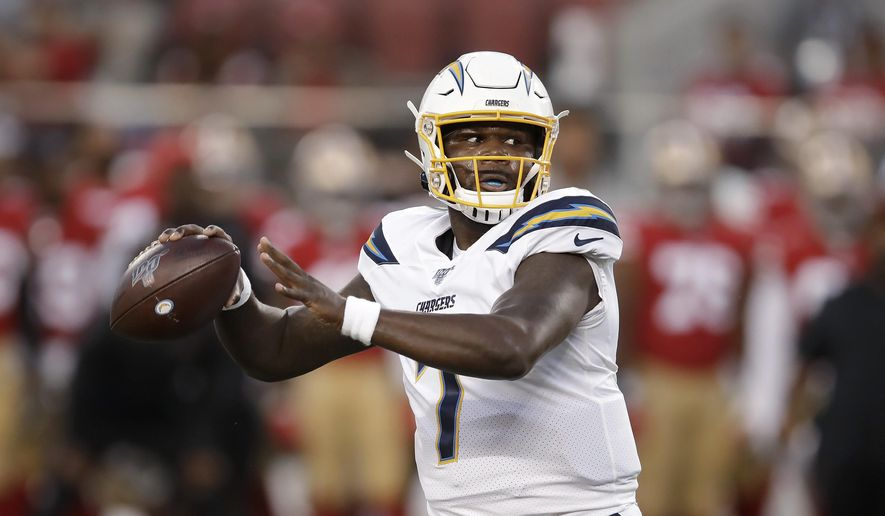 Los Angeles Chargers quarterback Cardale Jones (7) looks for a receiver during the first half of the team's NFL football preseason game against the San Francisco 49ers in Santa Clara, Calif., Thursday, Aug. 29, 2019. (AP Photo/Ben Margot) ** FILE **