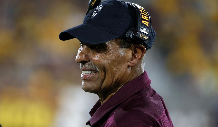 Arizona State coach Herm Edwards watches from the sideline during the first half of the team's NCAA college football game against Kent State, Thursday, Aug. 29, 2019, in Tempe, Ariz. (AP Photo/Ralph Freso)