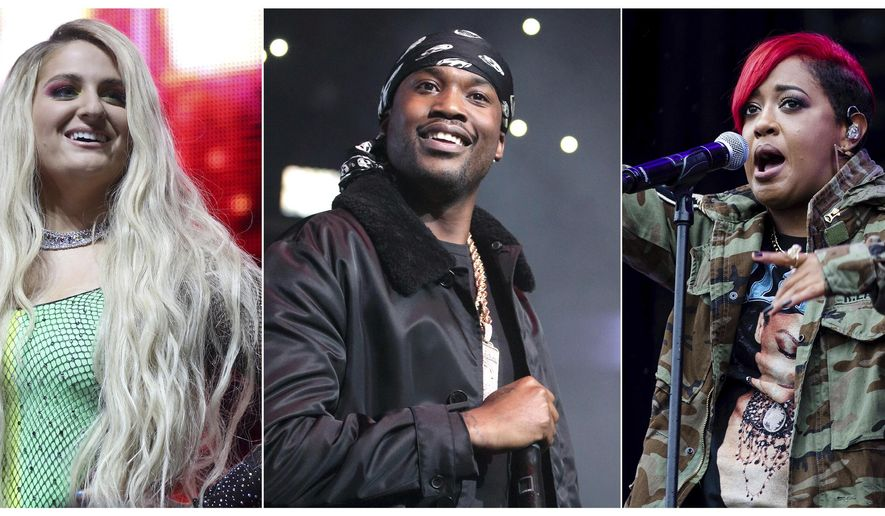 This combination photo shows performers, from left, Meghan Trainor, Meek Mill and Rapsody, who will perform in a free pregame concert on Sept. 5 in Chicago's Grant Park before the Bears face off against the Green Bay Packers. (AP Photo)