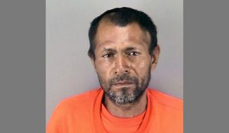 This undated file booking photo provided by the San Francisco Police Department shows Jose Ines Garcia-Zarate, a homeless undocumented immigrant who was acquitted of killing Kate Steinle on a San Francisco pier in 2015. A California state appeals court has thrown out the sole conviction against Jose Ines Garcia-Zarate who fatally shot a woman on the San Francisco waterfront in 2015, Friday, Aug. 30, 2019. (San Francisco Police Department via AP, File)