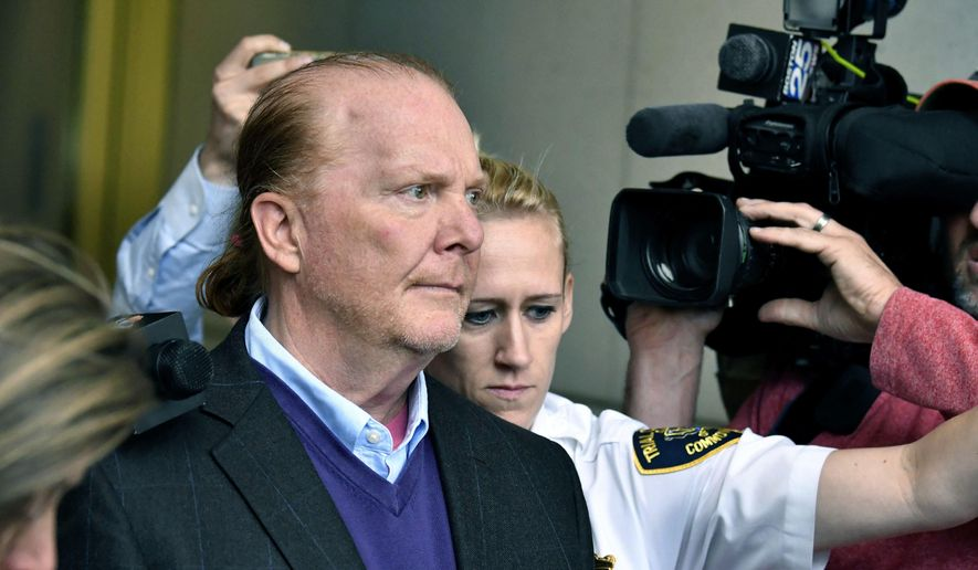 In this May 24, 2019, file photo, chef Mario Batali departs after pleading not guilty, at a municipal court in Boston, to an allegation that he forcibly kissed and groped a woman at a Boston restaurant in 2017.  A hearing is scheduled, Friday, Aug. 30, 2019, in the indecent assault and battery case against Mario Batali.  (AP Photo/Josh Reynolds, File)
