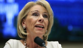 """In this April 10, 2019, file photo, Education Secretary Betsy DeVos testifies before the House Education and Labor Committee at a hearing on """"Examining the Policies and Priorities of the U.S. Department of Education"""" on Capitol Hill in Washington. (AP Photo/Manuel Balce Ceneta, File)"""
