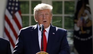 In this Aug. 29, 2019, file photo, President Donald Trump speaks in the Rose Garden of the White House in Washington. (AP Photo/Carolyn Kaster, File)