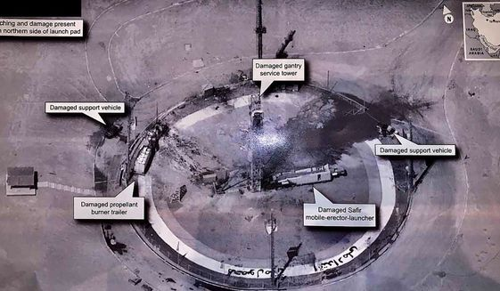 "This image taken from the Twitter account of President Donald J. Trump, @realDonaldTrump, shows an undated photo of the aftermath of an explosion at Iran's Imam Khomeini Space Center in the country's Semnan province. The explosion Thursday, Aug. 29, 2019, left the smoldering remains of a rocket on a launch pad at the center, which was to conduct a U.S.-criticized satellite launch. In his tweet Friday, Aug. 30, 2019, Trump wrote: ""The United States of America was not involved in the catastrophic accident during final launch preparations for the Safir SLV Launch at Semnan Launch Site One in Iran. I wish Iran best wishes and good luck in determining what happened at Site One."" (Donald J. Trump Twitter account via AP)"