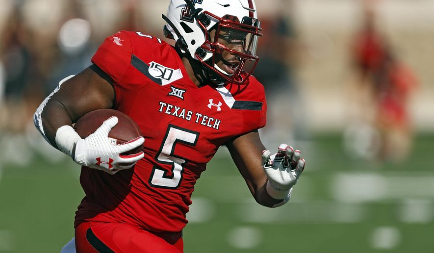 Texas Tech's Armand Shyne runs with the ball during the second half of the team's NCAA college football game against Montana State, Saturday, Aug. 31, 2019, in Lubbock, Texas. (Brad Tollefson/Lubbock Avalanche-Journal via AP)