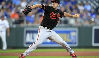 Baltimore Orioles starting pitcher John Means delivers to a Kansas City Royals batter during the first inning of a baseball game at Kauffman Stadium in Kansas City, Mo., Friday, Aug. 30, 2019. (AP Photo/Orlin Wagner)
