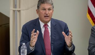 FILE - In this July 8, 2019, file photo, Sen. Joe Manchin, D-W.Va., speaks at a roundtable on the opioid epidemic at Cabell-Huntington Health Center in Huntington, W.Va. (AP Photo/Andrew Harnik, File)