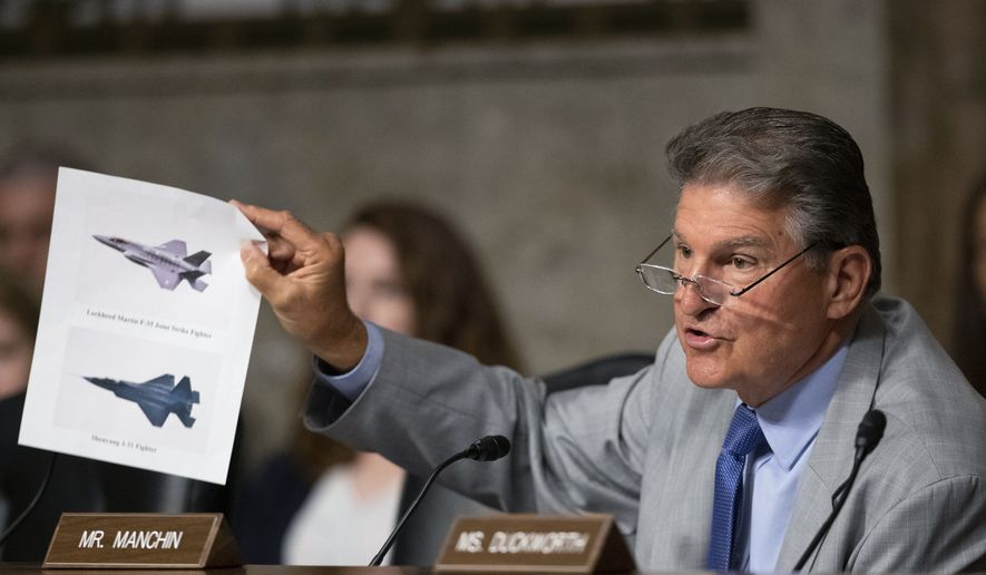 In this July 16, 2019, file photo, Senate Armed Services Committee member Sen. Joe Manchin, D-W.Va., shows an illustration of a Lockheed Martin F-35 Joint Strike Fighter jet, top, and China's Shenyang J-31 Stealth Fighter jet, bottom, as he questions Secretary of the Army and Secretary of Defense nominee Mark Esper on Capitol Hill in Washington. (AP Photo/Manuel Balce Ceneta, File)