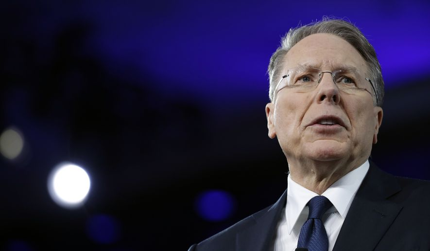 In this Feb. 24, 2017, file photo, National Rifle Association (NRA) Executive Vice President and Chief Executive Officer Wayne LaPierre speaks at the Conservative Political Action Conference (CPAC) in Oxon Hill, Md. (AP Photo/Alex Brandon) ** FILE **