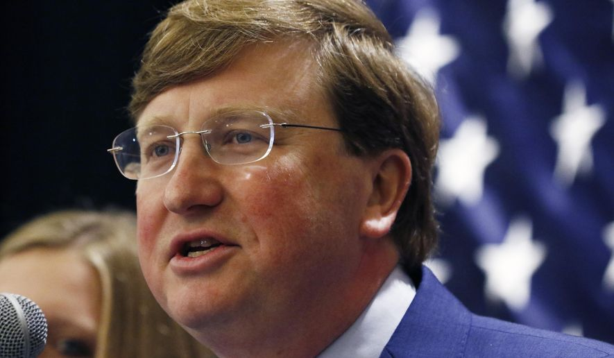 Lt. Gov. Tate Reeves speaks to supporters after being declared winner of the runoff election for the Republican nomination for governor in Jackson, Miss., Tuesday evening, Aug. 27, 2019. Reeves beat former Mississippi Supreme Court Chief Justice Bill Waller Jr., in the runoff. (AP Photo/Rogelio V. Solis)