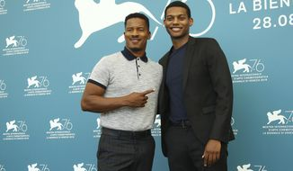 Director Nate Parker, left, and actor Shane Paul McGhie pose for photographers at the photo call for the film 'American Skin' at the 76th edition of the Venice Film Festival in Venice, Italy, Sunday, Sept. 1, 2019. (Photo by Joel C Ryan/Invision/AP)