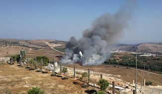 Smoke rises from Israeli army shells that landed in the southern Lebanese border village of Maroun Al-Ras, Lebanon, Sunday, Sept. 1, 2019. The Lebanese army says Israeli forces have fired some 40 shells on the outskirts of several border villages following an attack by the militant Hezbollah group on Israeli troops. (AP Photo)