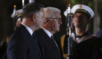 German President Frank-Walter Steinmeier, center right, and Polish President Andrzej Duda, center left, attend ceremony marking the 80th anniversary of World War II in Wielun, Poland, Sunday, Sept. 1, 2019. (AP Photo/Czarek Sokolowski)