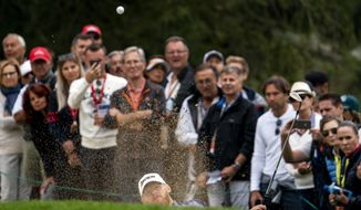 Sebastian Soderberg of Sweden hits a bunker shot during the final round of the European Masters golf tournament in Crans-Montana, Switzerland, Sunday, September 1, 2019.(Alexandra Wey/Keystone via AP)