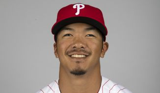 This is a 2017 photo of Chace Numata of the Philadelphia Phillies. This image represents the the Phillies active roster on Monday, Feb. 20, 2017, in Clearwater, Fla. (AP Photo/Matt Rourke)