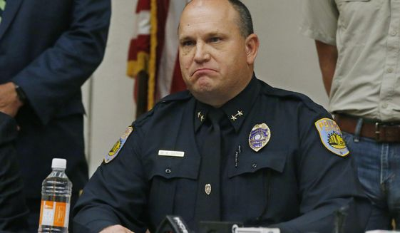 Odessa Police Chief Michael Gerke announces that he does not want to speak the name of the shooter from Saturday's shooting during a news conference, Sunday, Sept. 1, 2019, in Odessa, Texas. Instead, the department released the name of the gunman through a Facebook post. (AP Photo/Sue Ogrocki)