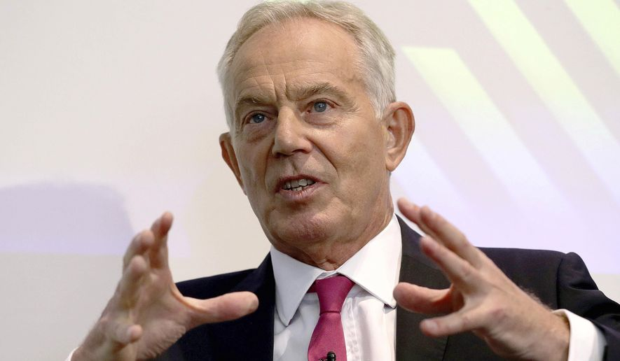 In this file photo, former British prime minister Tony Blair gives a speech on Brexit at the Institute for Government in central London, Monday Sept. 2, 2019. (Aaron Chown/Pool via AP)