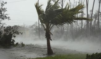 CORRECTS FROM CANAL TO ROAD - A road is flooded during the passing of Hurricane Dorian in Freeport, Grand Bahama, Bahamas, Monday, Sept. 2, 2019. Hurricane Dorian hovered over the Bahamas on Monday, pummeling the islands with a fearsome Category 4 assault that forced even rescue crews to take shelter until the onslaught passes. (AP Photo/Tim Aylen)