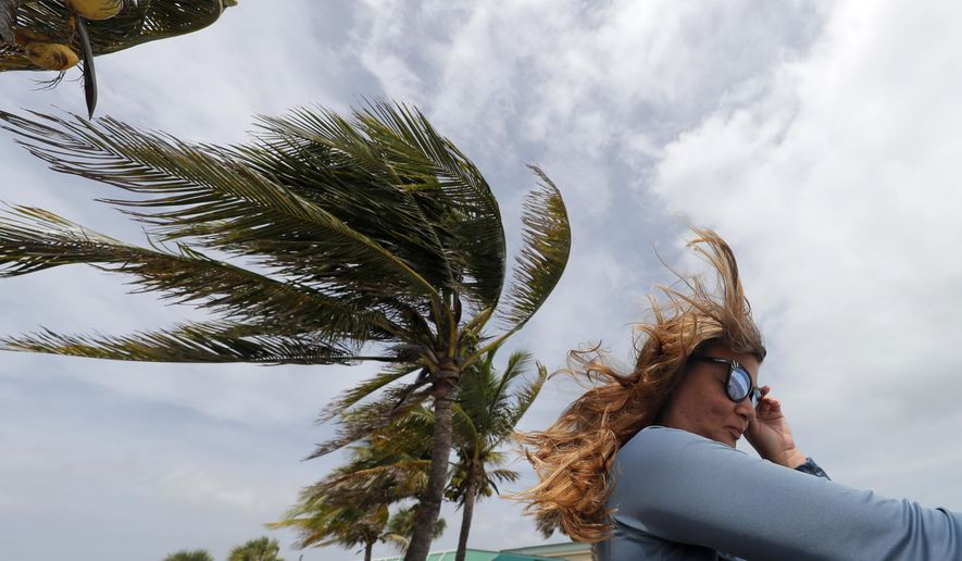Kristen Davis watches the high surf from a boardwalk overlooking the Atlantic Ocean, as winds from Hurricane Dorian blow the fronds of a palm tree in Vero Beach, Fla., Monday, Sept. 2, 2019. (AP Photo/Gerald Herbert)