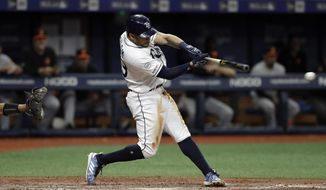 Tampa Bay Rays' Tommy Pham lines a walkoff RBI-single off Baltimore Orioles relief pitcher Dillon Tate during the 10th inning of a baseball game Monday, Sept. 2, 2019, in St. Petersburg, Fla. Rays' Joey Wendle scored. (AP Photo/Chris O'Meara)