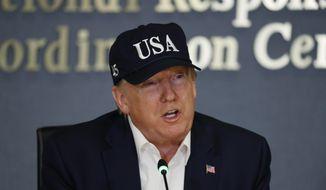 President Donald Trump speaks at the Federal Emergency Management Agency (FEMA), Sunday, Sept. 1, 2019, in Washington. (AP Photo/Jacquelyn Martin)