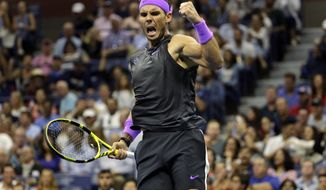 Rafael Nadal, of Spain, reacts during a fourth-round match against Marin Cilic, of Croatia, during the U.S. Open tennis tournament Monday, Sept. 2, 2019, in New York. (AP Photo/Seth Wenig)