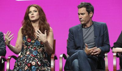 """Debra Messing, left, and Eric McCormack participate in the """"Will & Grace"""" panel during the NBC Television Critics Association Summer Press Tour at the Beverly Hilton on Thursday, Aug. 3, 2017, in Beverly Hills, Calif. (Photo by Willy Sanjuan/Invision/AP)"""