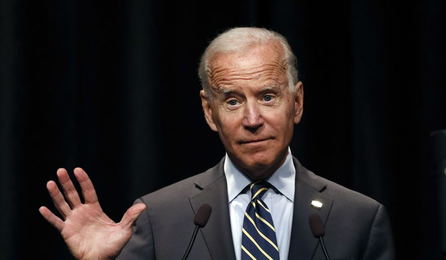 In this Aug. 21, 2019 photo, Democratic presidential candidate former Vice President Joe Biden speaks at the Iowa Federation of Labor convention in Altoona, Iowa. (AP Photo/Charlie Neibergall)