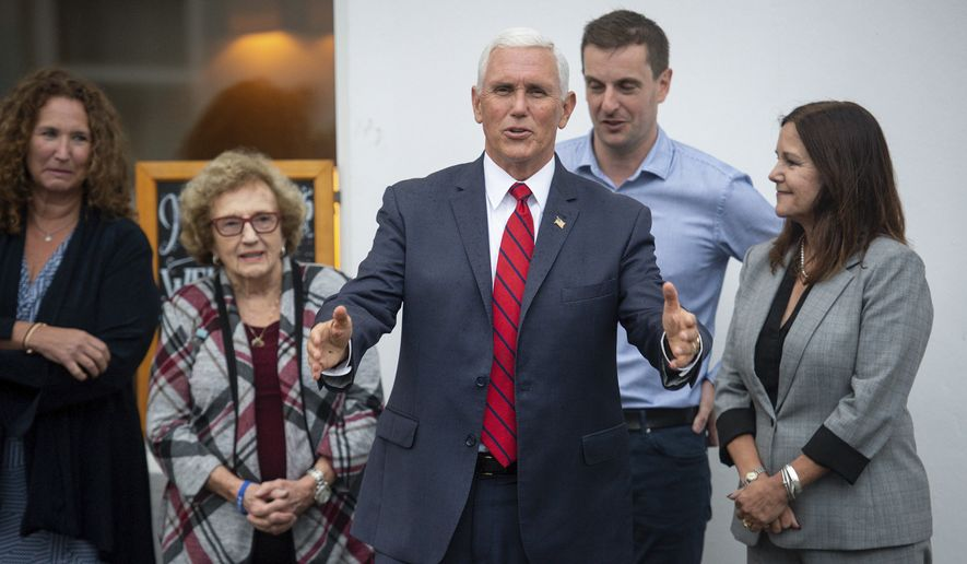 U.S Vice President Mike Pence, his wife Karen Pence, right, his sister Anne Pence Poynter, left, and his mother Nancy Pence Fritsch arrive in Doonbeg, Ireland, Tuesday Sept. 3, 2019. Speaking to reporters in Dublin, where he spent the day, Pence spoke about his personal connection to the village of Doonbeg  the site of both the Trump International Golf Links & Hotel as well as family history. (Jacob King/PA via AP)