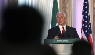 US Vice President Mike Pence speaks to the media during a visit to Farmleigh House, Dublin, Ireland, Tuesday, Sept. 3, 2019. The Vice President is currently in Ireland for a two day visit. (AP Photo/Peter Morrison)