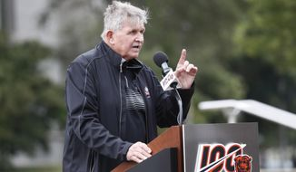 Former Chicago Bears tight end and Pro Football Hall of fame head coach Mike Ditka addresses the crowd during an unveiling ceremony outside Soldier Field of statues honoring George Halas and Walter Payton Tuesday, Sept. 3, 2019, in Chicago. (AP Photo/Charles Rex Arbogast)