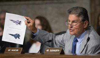 FILE - In this July 16, 2019, file photo, Senate Armed Services Committee member Sen. Joe Manchin, D-W.Va., shows an illustration of a Lockheed Martin F-35 Joint Strike Fighter jet, top, and China's Shenyang J-31 Stealth Fighter jet, bottom, as he questions Secretary of the Army and Secretary of Defense nominee Mark Esper on Capitol Hill in Washington.  (AP Photo/Manuel Balce Ceneta, File)