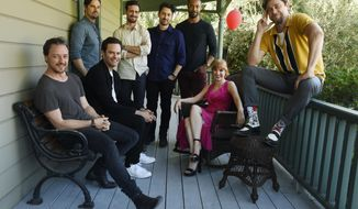 "In this Tuesday, Aug. 27, 2019 photo, Andy Muschietti, far right, director of ""It Chapter Two,"" poses for a portrait with cast members, from left, James McAvoy, Jay Ryan, Bill Hader, James Ransone, Andy Bean, Isaiah Mustafa and Jessica Chastain at Heritage Square Museum, in Los Angeles. There are high expectations for the sequel opening Thursday, Sept. 5, especially since the first film was not only loved by critics but became the highest grossing horror movie of all time. (Photo by Chris Pizzello/Invision/AP)"