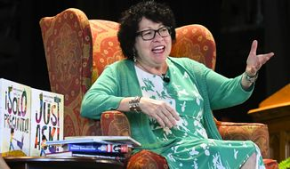 "U.S. Supreme Court Justice Sonia Sotomayor addresses attendees of an event promoting her new children's book ""Just Ask!"" in Decatur, Ga., Sunday, Sept. 1, 2019. (AP Photo/John Amis)"