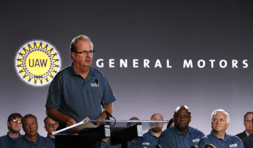 In this July 16, 2019, file photo United Auto Workers President Gary Jones speaks during the opening of their contract talks with General Motors in Detroit. (AP Photo/Paul Sancya, File)