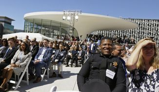 San Francisco Police Chief William Scott watches the ribbon cutting ceremony of the Chase Center Tuesday, Sept. 3, 2019, in San Francisco. The arena is the new home of the Golden State Warriors NBA basketball team. (AP Photo/Eric Risberg)