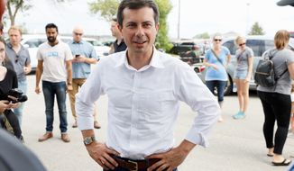 Pete Buttigieg, the mayor of South Bend, Indiana, offered a plan that has a fund for workers who were displaced in the transition to cleaner energy. (Associated Press photographs)