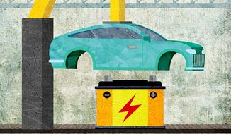 Building an Electric Car Illustration by Greg Groesch/The Washington Times