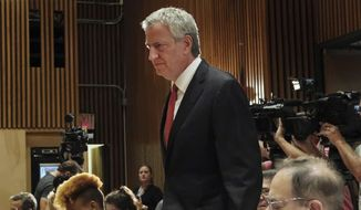 New York City Mayor Bill de Blasio arrives for the monthly crime briefing at New York City Police Department, Wednesday, Sept. 4, 2019. (AP Photo/Michael R. Sisak) ** FILE **