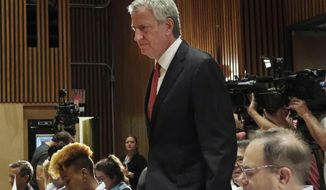 New York City Mayor Bill de Blasio arrives for the monthly crime briefing at New York City Police Department, Wednesday, Sept. 4, 2019. (AP Photo/Michael R. Sisak)