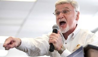 FILE - In this March 11, 2018, file photo, Cecil Roberts, president of United Mine Workers of America, speaks at the Greene County Fairgrounds in Waynesburg, Pa. Roberts says plans by Democratic presidential candidates to address climate change must account for thousands of coal workers whose jobs are at risk because of mine closures and competition from cheaper natural gas. (Antonella Crescimbeni/Pittsburgh Post-Gazette via AP)