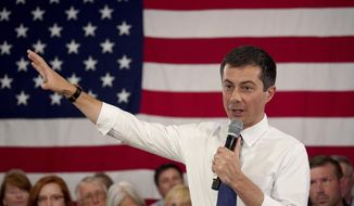 Democratic presidential candidate South Bend Mayor Pete Buttigieg speaks during a Veteran's and Mental Health Town Hall event at an American Legion Hall, Friday, Aug. 23, 2019, in Manchester, N.H. (AP Photo/Mary Schwalm)