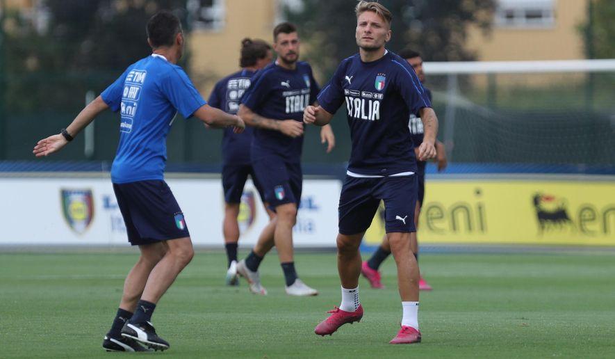 Italy forward Ciro Immobile attends a training session ahead of Thursday's Euro 2020, group J, qualification soccer match against Armenia, in Bologna, Italy, Monday, Sept. 2, 2019. (Giorgio Benvenuti/ANSA via AP)