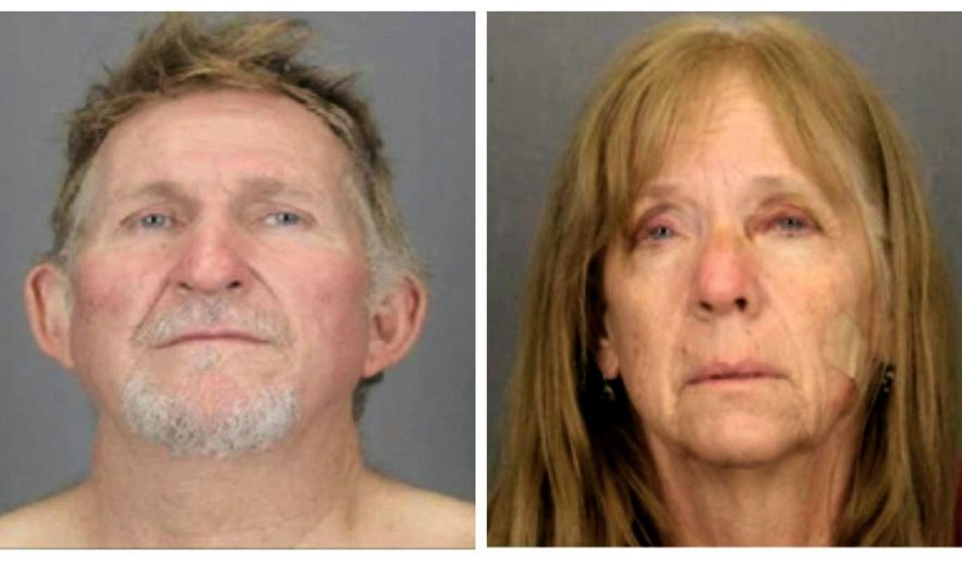 FILE - These undated file booking photos provided by the Tucson Police Department show 56-year-old Blake Barksdale, left, and his 59-year-old wife Susan Barksdale. Authorities believe that the fugitive couple wanted in a killing in Arizona is getting help staying missing. U.S. Marshal for Arizona David Gonzales said Tuesday, Sept. 3, 2019 that deputy marshals are looking at several persons of interest in the search for the couple. U.S. Marshals, the FBI and other agencies have been sifting through hundreds of tips since the pair overtook a prison transport van Aug. 26 outside of St. Johns, Ariz. (Tucson Police Department via AP, File)