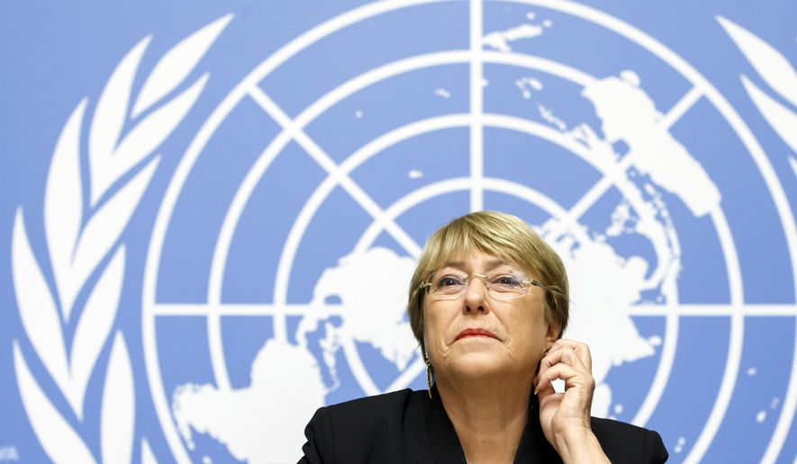 U.N. High Commissioner for Human Rights Chilean Michelle Bachelet listens to the media one year after she took office, during a press conference at the European headquarters of the United Nations in Geneva, Switzerland, Wednesday, September 4, 2019. (Salvatore Di Nolfi/Keystone via AP)