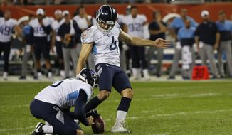 Tennessee Titans' Ryan Succop (4) kicks a 23-yard field goal out of the hold of punter Brett Kern during the second half of the team's NFL preseason football game against the Chicago Bears, Thursday, Aug. 29, 2019, in Chicago. (AP Photo/Charles Rex Arbogast)
