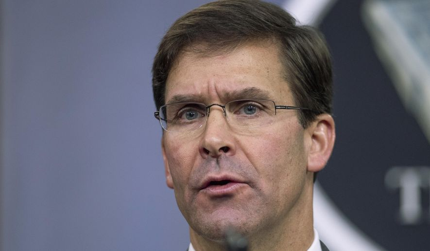 FILE - In this Aug. 28, 2019, file photo, Secretary of Defense Mark Esper speaks to reporters during a briefing at the Pentagon. Esper on Wednesday, Sept. 4, began briefing allied officials in Europe on an emerging peace deal with the Taliban, but he cautioned that no final deal has been sealed to end the longest war in American history. (AP Photo/Manuel Balce Ceneta, File)