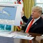 President Donald Trump speaks about Hurricane Dorian as he speaks to reporters in the Oval Office of the White House, Wednesday, Sept. 4, 2019, in Washington.  (AP Photo/Evan Vucci)