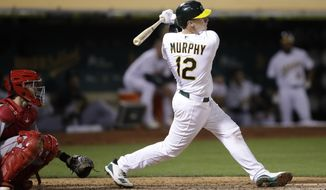 Oakland Athletics' Sean Murphy watches his home run off Los Angeles Angels' Jake Jewell, his first hit in the majors, during the fifth inning of a baseball game Wednesday, Sept. 4, 2019, in Oakland, Calif. (AP Photo/Ben Margot)